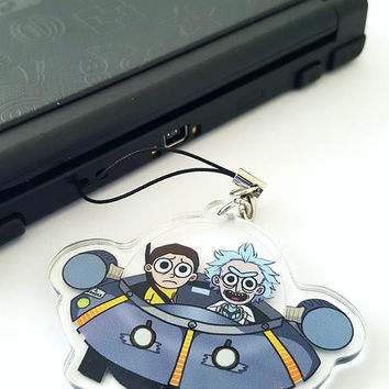 Rick and Morty Spaceship Keychain Acrylic Charm - Double Sided Hand-Drawn with Phone Strap