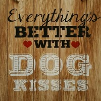 "NEW Wooden Hanging Wall Sign EVERYTHING IS BETTER WITH DOG KISSES  8"" x 8.5"""