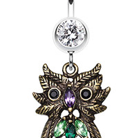 Whimsical Owl Sparkle Belly Button Ring