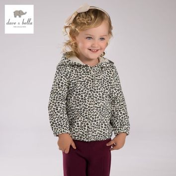 DB3970 davebella autumn baby girls leopard coat girls hooded outerwear kids leopard coat
