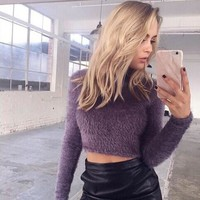 Womens Trendy Turtleneck Fuzzy Crop Top Sweater