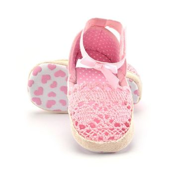 Girls Knitting First Walker Shoes Espadrilles Crochet Baby Shower Soft Sole Anti-Slip - (2 colors)
