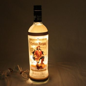 Liquor Bottle Light, Upcycled Captain Morgan Liquor Bottle, Decor for Mancave, Bar Light