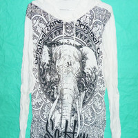 Wrinkled Hoodies Om Shirt Elephant T Shirt Hood Elephant Original shirt size M/L XL Hindu Tee White Long sleeve Wrinkled Tshirt for Unisex