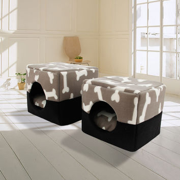 Free Shipping Multi-functional Three-Use Bed For Dogs 100% Cotton Kennel Pet House Dog House Pattern Bone Color Grey Size S M