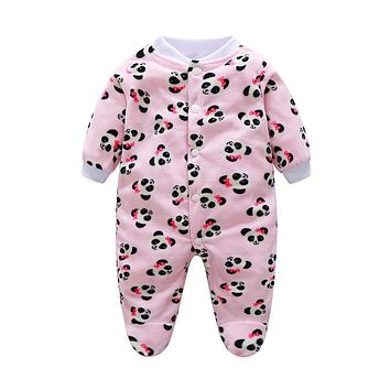 Warm Baby Clothes Pajamas Newborn Baby Rompers Fleece Infant Long Sleeve Jumpsuits Boy Girl Autumn Winter