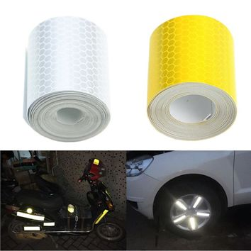3mX5cm Fluorescence Pure Yellow Reflective Car Truck Motorcycle Sticker Safety Warning Signs Conspicuity Tape Roll 2016 Hotsale