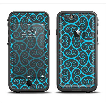 The Blue & Black Spirals Pattern Apple iPhone 6 LifeProof Fre Case Skin Set