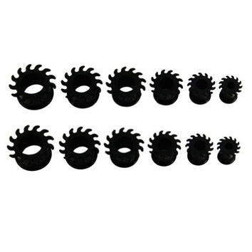 Lot of 12pcs Gear Wheel Black Silicone Squishy Double Flare Tunnel Flexible Ear Plug