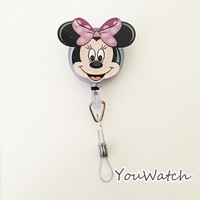 Fashion 1pcs Cute Cartoon Minnie Retractable Reel ID BUS Card Badge Holder School Office Supplies With Metal Clip Easy to Use