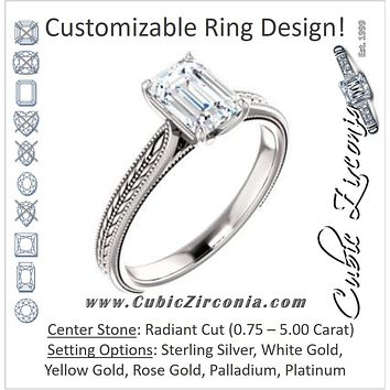 Cubic Zirconia Engagement Ring- The Dulcia (Customizable Radiant Cut Solitaire with Wheat-inspired Band Filigree)