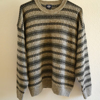Brown Striped Sweater Oversized 90's Vintage XL