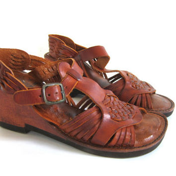 vintage 1970s Braided Leather Wood Cut Out Wedge Clog Boho Sandals / size 7.5 N