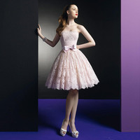 Fashion 2017 Pink Lace Short Prom Dresses Knee-Length Cocktail Dresses With Bow Strapless Party Formal Short Homecoming Dresses