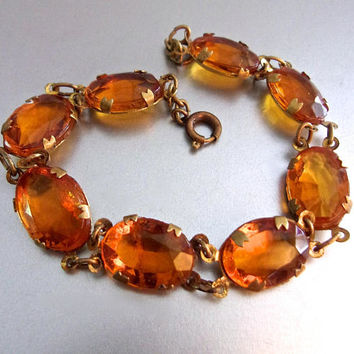 Art Deco Czechoslovakia Glass Amber Topaz Bracelet, Brass Chain, Vintage Antique