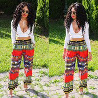 White Crop Top and Dashiki Pants Set