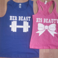 Free Shipping for US Beauty And The Beast  Matching Couples Tank Tops/Shirts: Blue&pink Different Version