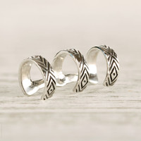 Sterling Silver Ear Cuff Earrings Aztec Evil Eye Chevron Ear Wrap Earrings Boho Jewelry - ECU005