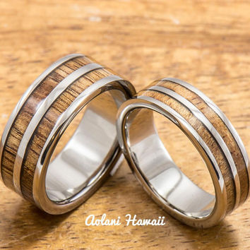 Titanium Wedding Band Set with Hawaiian Koa Wood Inlay (6mm - 8mm Width, Flat Style)