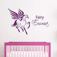 Name Wall Decal Girl Personalized Name Stickers Unicorn Vinyl Decals Art Mural Horse Decal Bedroom Decor Interior Design Nursery Decor KI150
