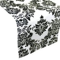 "Amazon.com: 12"" x 108"" Flocking Taffeta Table Top Damask Runners - Black: Home & Kitchen"
