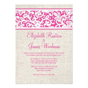Hot Pink Country Burlap Linen Wedding Invitations