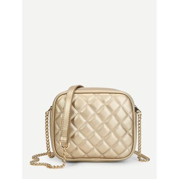 Quilted Design PU Chain Bag Gold