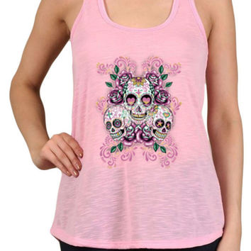 Women's 3 Sugar Skulls & Floral Graphic Print Polyester Tank Tops for Regular and PLUS - Small ~ 3XL