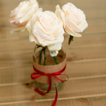Blush Roses in Burlap Mason Jar with Ribbon
