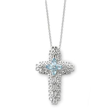 Sterling Silver March Birthstone Cross Sentimental Expressions Necklace