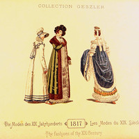 Antique Fashion Plate from 1817 by Collection Geszler, Regency Era Fashion Plate