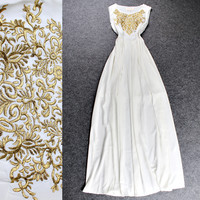 Slid Sleeveless Gold Threads Embroidered Maxi Dress