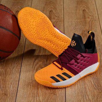 DCCK A157 Adidas James Harden Vol.2 Boost Training Basketball Shoes Wine Red Yellow