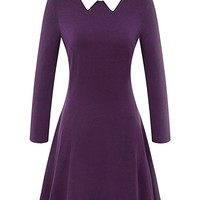 Women's Long Sleeve Casual Peter Pan Collar Flare Dress