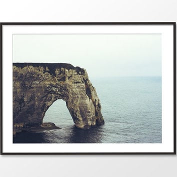 Rock Cliff Beach Print. Normandy Elephant Rock Arch Fine Art Print. Etretat Cliffs. Nautical Landscape Art. Rugged Landscape Wall Decor.