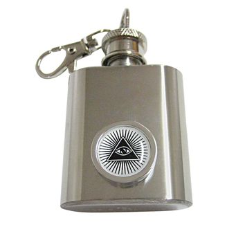 Bordered All Seeing Eye Pyramid 1 Oz. Stainless Steel Key Chain Flask