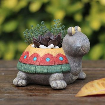 Dorky Cute Turtle Flowerpot Animal Resin Succulent Planter Desk Mini Ornament (Colorful Turtle)