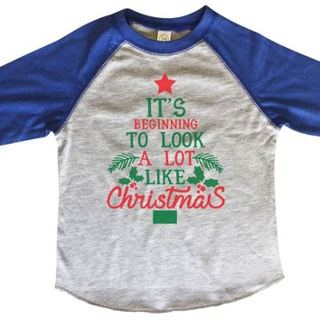 It's Beginning To Look A Lot Like Christmas BOYS OR GIRLS BASEBALL 3/4 SLEEVE RAGLAN - VERY SOFT TRENDY SHIRT 1976
