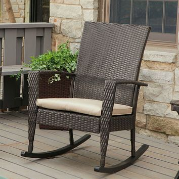 Indoor/Outdoor Patio Porch Dark Brown High Back Wicker Rocking Chair with Khaki Cushion