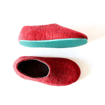 Gifts - Unisex Wool House Shoes with 10 Colors Rubber Sole - Red and Grey - 100% Wool - Gifts for Her - Gifts for Him - All sizes