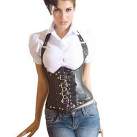MUKA Burlesque Leather Steel Boned Buckles Underbust Black Corset Top, Gift Idea