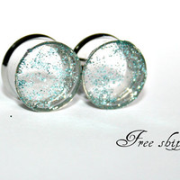 Blue glitters-Stainless steel gauges- Ears plugs-Double flare-Free shipping for US and Canada (18)