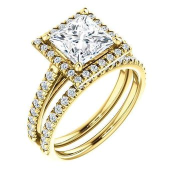 Princess/Square Moissanite Diamond Accent Ice Halo Cathedral Ring