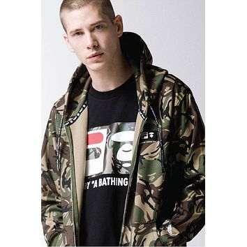 BAPE AAPE X FILA Fashionable Couple Leisure Print Camouflage Hoodie Zipper Sweatshirt Jacket Coat