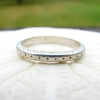 Art Deco Wedding Band, Engraved Eternity Style Platinum Ring with Provenance, Circa 1920's