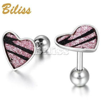 SHIPS FROM USA 2017 Unique Fashion Women's Stainless Steel Stud Earrings Heart Earrings Women Jewerly Earring Pink/black/Silver colors