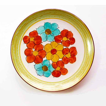 Vintage 1970s Casual Ceram Stoneware SIERRA 7038 Round Chop Serving Platter Retro Cool Rust Yellow Blue Flower Power Oven to Table Japan