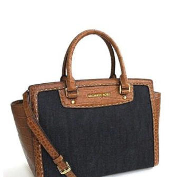 Michael Michael Kors Large Selma Croc Pickstitch Denim Satchel