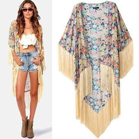 Vintage Retro Women Ethnic Floral Loose Style Kimono Cardigan Jacket Coat Tops = 5709634689
