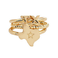 Bourbon & Boots Texas State Stacked Ring Set